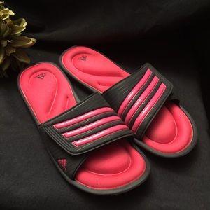 Adidas Memory Foam Pink/Black Sandals- Size: 10